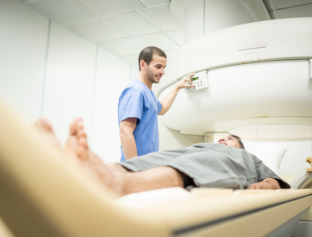 A person undergoing radiation therapy.