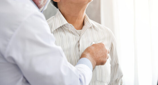 A man is examined for atelectasis.